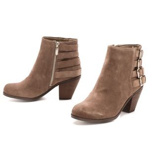 Sam Edelman Lucca 4 Buckle Stacked Heel Booties